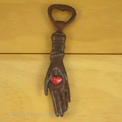HEART IN HAND Cast Iron Figural Bottle Opener, Reproduction of Classic NEW