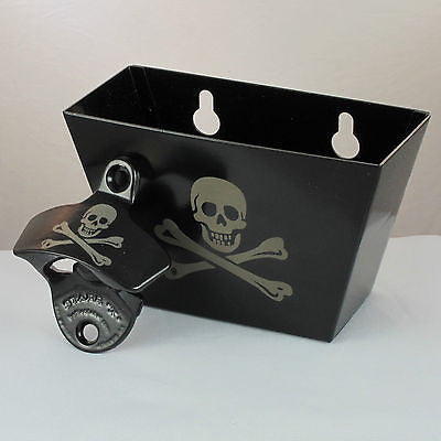 Black Skull and Bones Bottle Opener and Cap Catcher Set