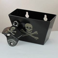Black Skull and Bones COMBO Pirate Starr Wall Mount Bottle Opener and Cap Catcher