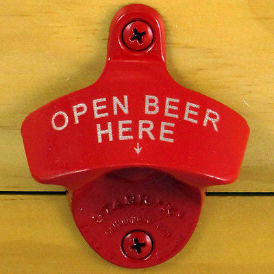 Red Open Beer Here Wall Mount Bottle Opener
