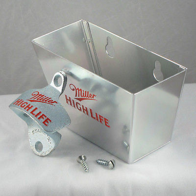 Miller High Life Wall Mount Bottle Opener and Cap Catcher