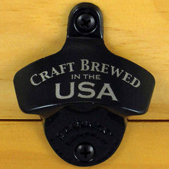 Black CRAFT BREWED IN THE USA Wall Mount Bottle Opener