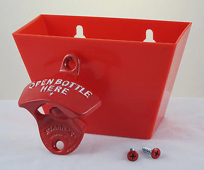 Red Open Bottle Here Wall Bottle Opener and Cap Catcher