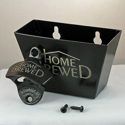Black Home Brewed Bottle Opener and Cap Catcher Set