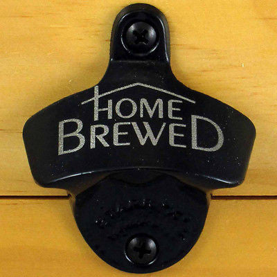 Black HOME BREWED Starr X Wall Mount Bottle Opener Powder Coated, Engraved