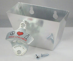 PEACE LOVE AND BEER Combo Wall Mount Bottle Opener And Aluminum Cap Catcher Set