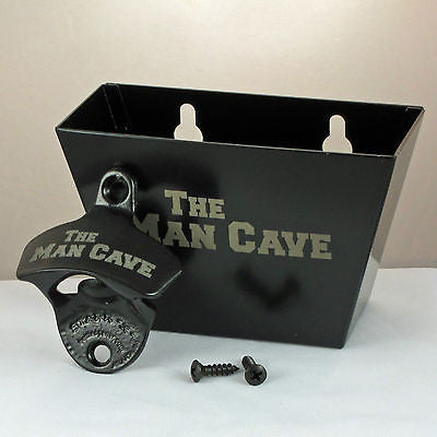Black The Man Cave Bottle Opener and Cap Catcher Set