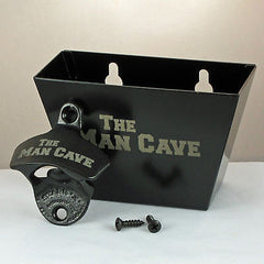 Black THE MAN CAVE Combo Starr X Wall Mount Bottle Opener and Metal Cap Catcher