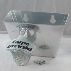 Carpe Brewski COMBO Wall Mount Bottle Opener /Cap Catcher Set Seize The Beer