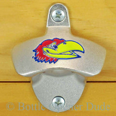 Kansas Jayhawks Wall Mount Bottle Opener Zinc Alloy NCAA Licensed