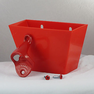 Starr Red Wall Mount Bottle Opener and Cap Catcher Set