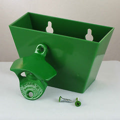 Light Green PLAIN Combo Starr Wall Mount Bottle Opener And Green Cap Catcher Set