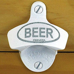 White BEER Cerveza Starr X Wall Mount Bottle Opener, Powder Coated Engraved