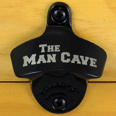 Black THE MAN CAVE Starr X Wall Mount Bottle Opener Powder Coated, Engraved
