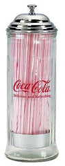 Coca Cola Coke Glass Straw Holder, Diner Style