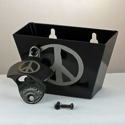 Black Peace Sign Bottle Opener and Cap Catcher set