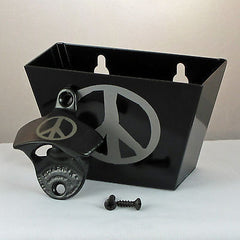 Black PEACE SIGN Combo Starr X Wall Mount Bottle Opener With Metal Cap Catcher