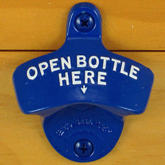 Blue OPEN BOTTLE HERE Starr X Powder Coated Wall Mount Bottle Opener