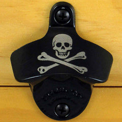 Black Pirate SKULL AND BONES Starr X Wall Mount Bottle Opener