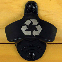 Black RECYCLE Starr X Wall Mount Bottle Opener, Laser Engraved