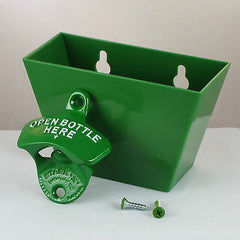 Green OPEN BOTTLE HERE Combo Wall Mount Bottle Opener And Green Cap Catcher Set