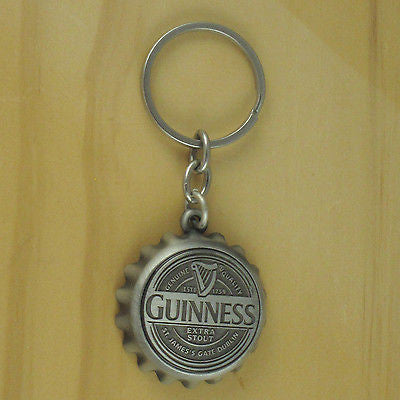 Guinness Bottle Opener Key Chain, Pewter Finish