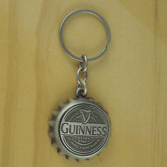 Guinness Bottle Opener Key Chain, Pewter Finish Look Bottle Cap Style