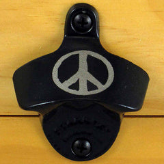 Black PEACE SIGN Starr X Wall Mount Bottle Opener, Powder Coated, Engraved