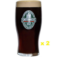 Pair of Smithwick Label Imperial Pint (20oz) Tulip Glasses, High Quality