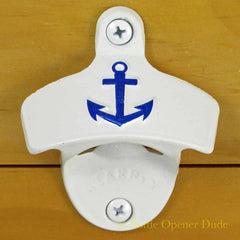 White Embossed ANCHOR Starr X Wall Mount Bottle Opener Cast Iron Nautical