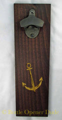 Anchor Engraved Wood Plank With Rustic Gun Blued Starr X Bottle Opener