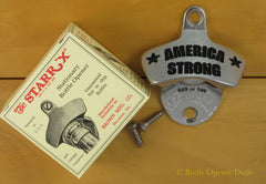 AMERICA STRONG Black Stainless Steel Starr X Wall Mount Bottle Opener LIMITED!!!