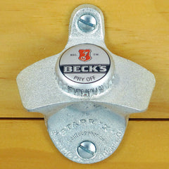 Beck's Beer BOTTLE CAP Starr X Wall Mount Stationary Bottle Opener Becks
