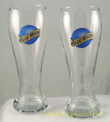 Pair of Blue Moon Beer Pint (16oz) Tulip Glasses, High Quality