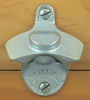 Plain Zinc Wall Mount Bottle Opener with Bottle Cap Mount