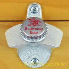 BUDWEISER BUD BEER 60s / 70s Vintage Bottle Cap Starr X Wall Mount Bottle Opener