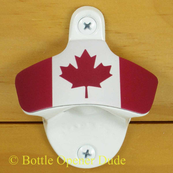 Canadian Flag Starr X Wall Mount Bottle Opener, White Powder Coated Canada