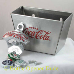 Coca Cola Coke Combo Wall Mount Bottle Opener / Stainless Cap Catcher Set