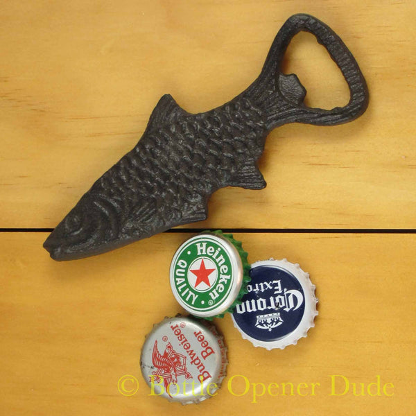 Cast Iron Fish Figural Bottle Opener Reproduction Of