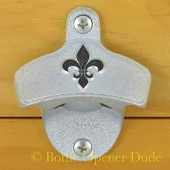 Embossed FLEUR DE LIS Starr X Wall Mount Stationary Bottle Opener