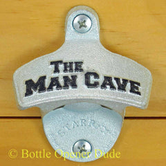 Embossed THE MAN CAVE Starr X Wall Mount Bottle Opener, Metal, Classic!
