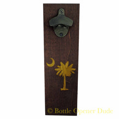 Crescent Moon & Palm Engraved Wood Plank With Rustic Starr X Bottle Opener