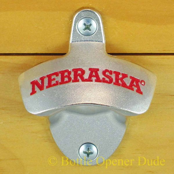 Nebraska Cornhuskers Wall Mount Bottle Opener Zinc Alloy Huskers NCAA