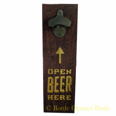 """Open Beer Here"" Engraved Wood Plank With Rustic Starr X Bottle Opener"