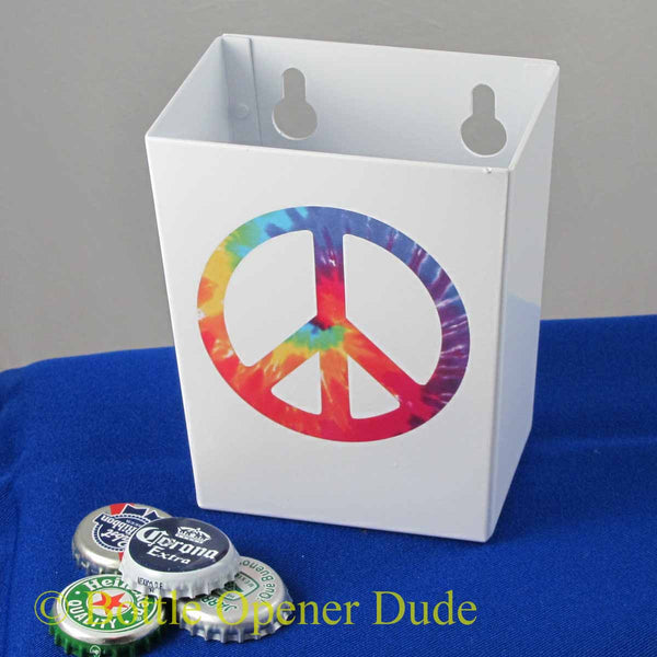 Small White PEACE SIGN Metal Cap Catcher for Wall Mount Bottle Openers