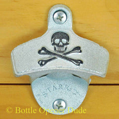 Embossed SKULL AND BONES Pirate Starr X Wall Mount Bottle Opener Classic
