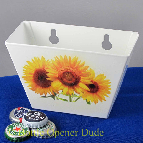 White Sunflowers Metal Cap Catcher for Wall Mount Bottle Openers STARR