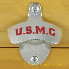 USMC United States Marine Corps Wall Mount Bottle Opener Zinc Alloy Marines -  Licensed