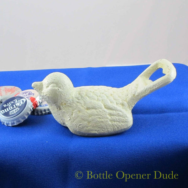White BIRD Cast Iron Figural Bottle Opener, Reproduction of Classic Opener