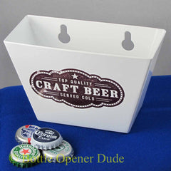 White CRAFT BEER Metal Cap Catcher for Wall Mount Bottle Openers STARR